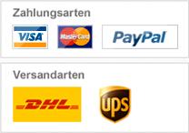Zahlung: Visa, MasterCard, Paypal / Versand: DHL, UPS